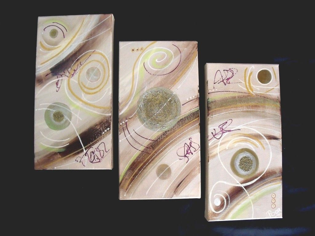 tableau triptyque moderne taupe chocolat marron vert anis | salon ... - Comment Faire Du Vert Anis En Peinture