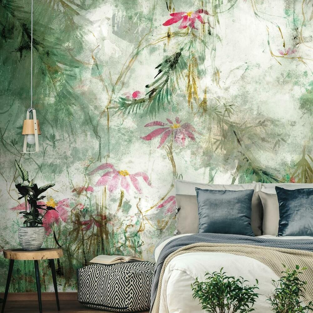 Jungle Lily Peel And Stick Mural Roommate Decor Room Visualizer Mural Wallpaper
