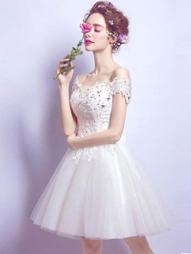 923186daf2f Cute Homecoming Dress Bowknot Off-the-shoulder Ivory Short Prom Dress Party  Dress JK436