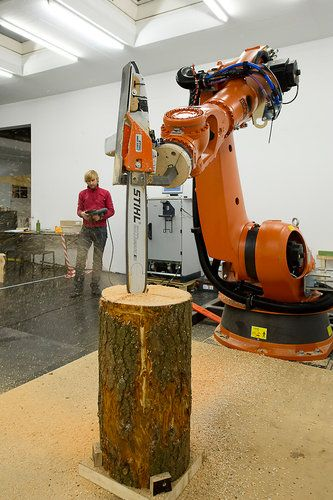 A Robot Lumberjack Chainsaws Trees Into Chairs | FABRICATION | Robot