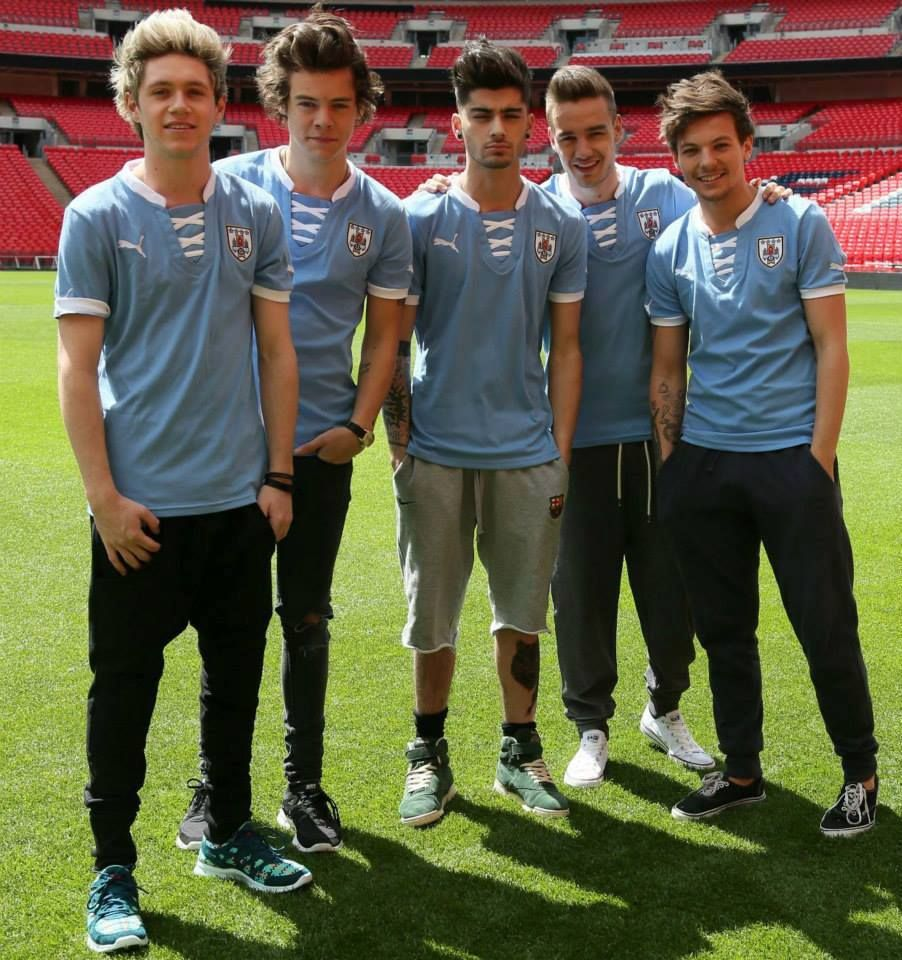 Harry Styles and Niall Horan celebrate world tour announcement by playing football on Wembley pitch - picture special #onedirection2014