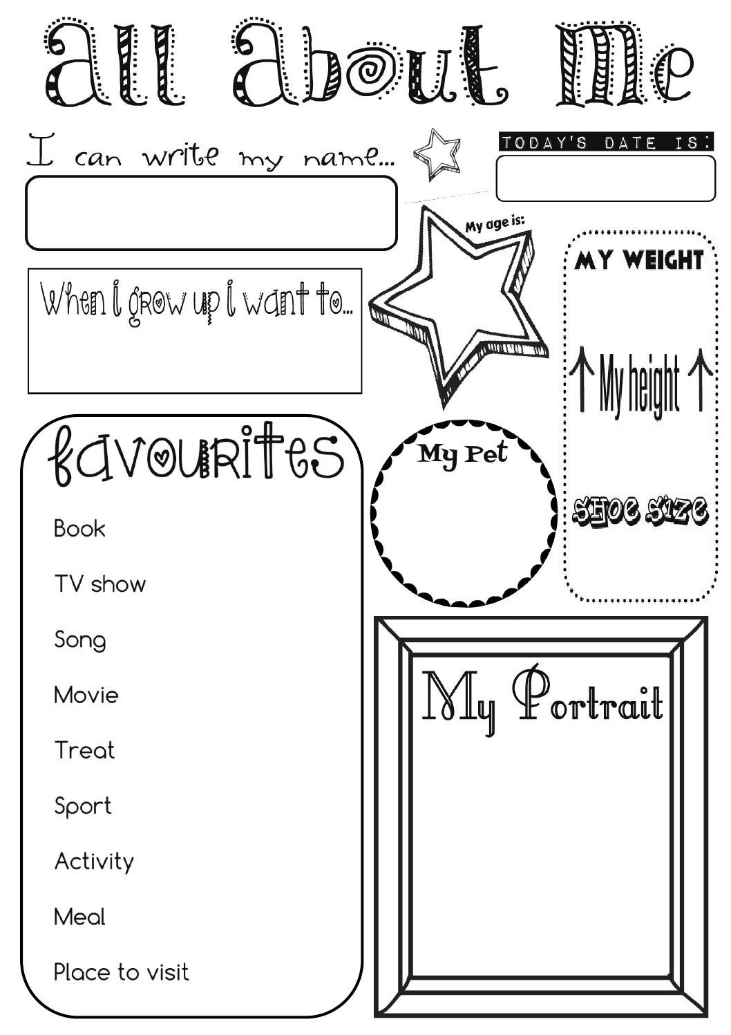 all about me activity sheet by ernie and bird for pre