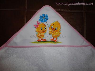 Pinturas d'anita - pintura de la tela: toallas de baño bebé