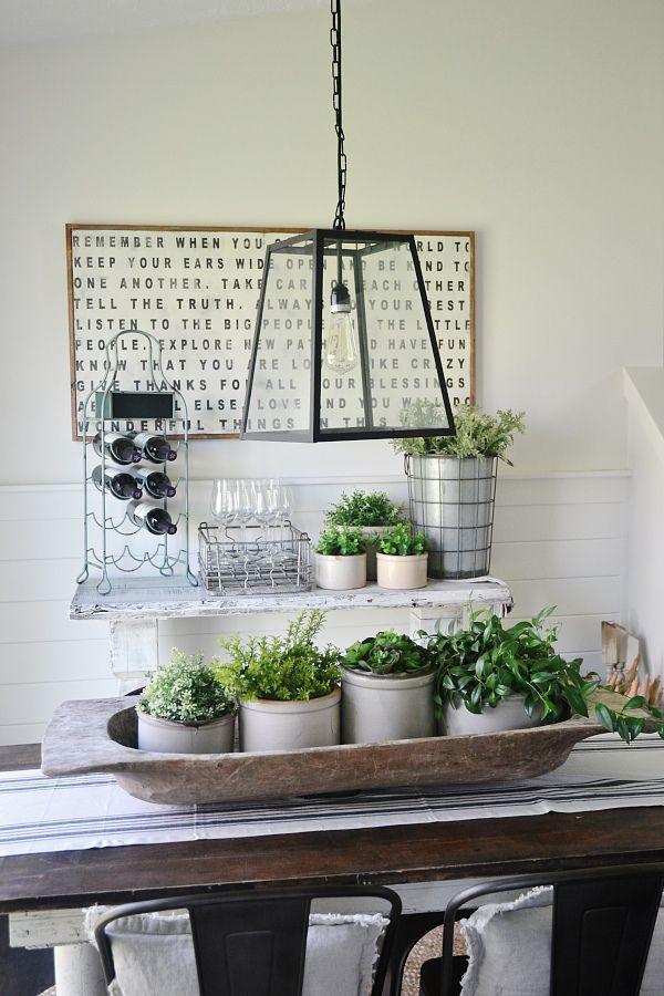 Dough Bowl Decorating Ideas Simple Stone Crock Centerpiece  Greenery Centerpiece Greenery