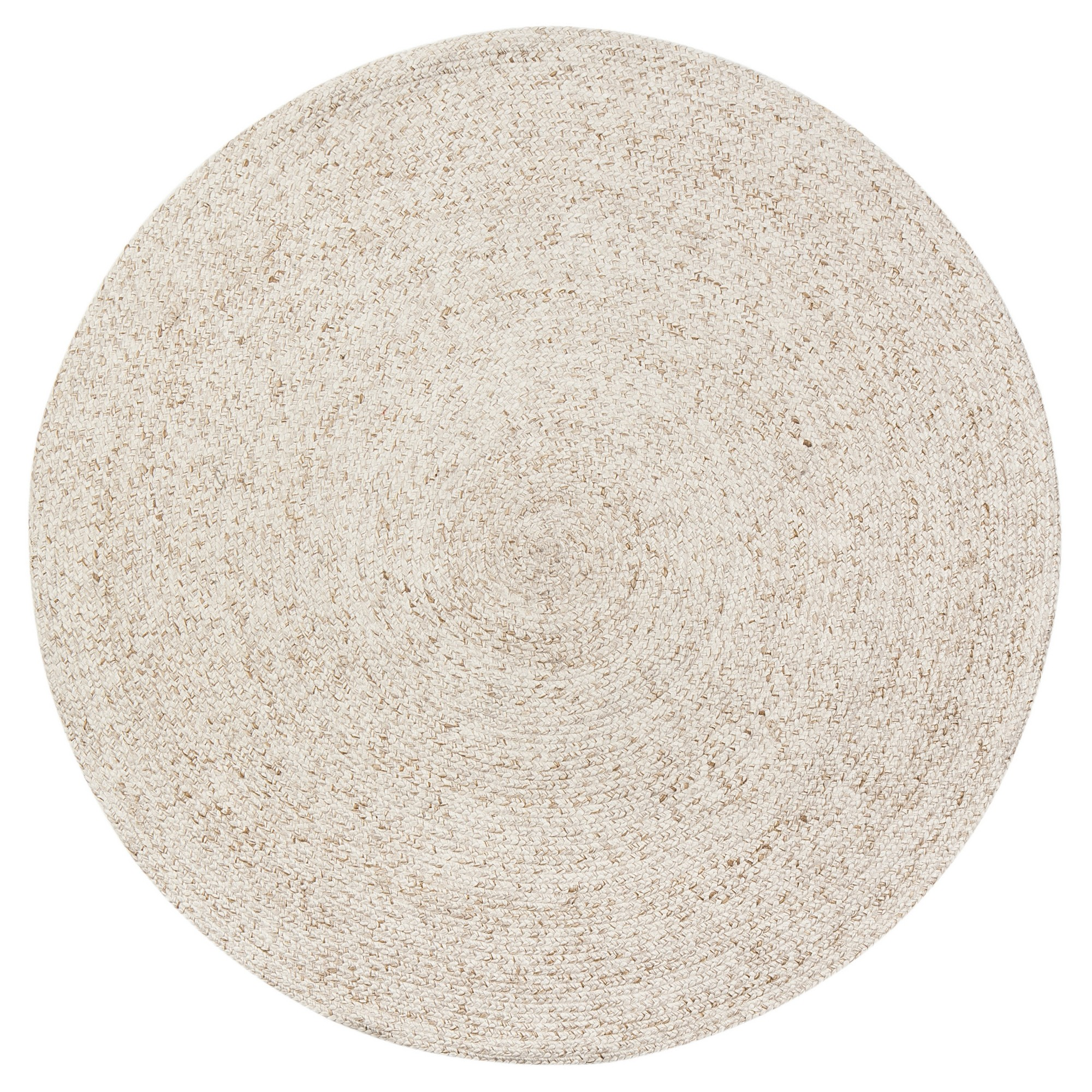 Light Cream Solid Braided Round Area Rug 8 Anji Mountain Adult