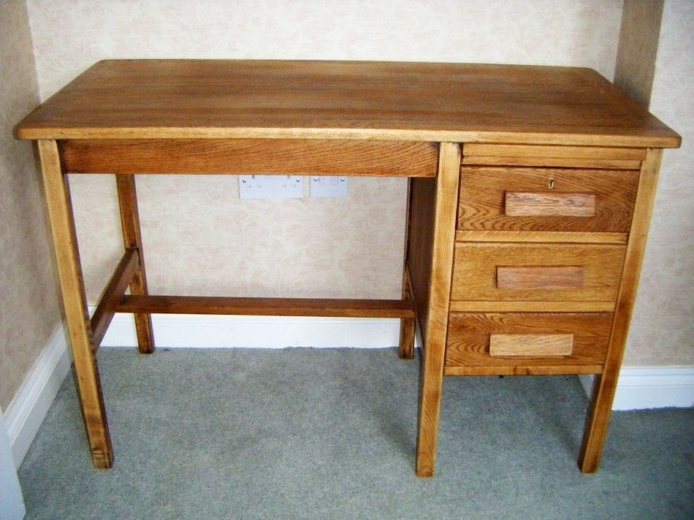 Vintage Oak Desk 1950s Secretary Typist Teacher Bookkeeper Office 3