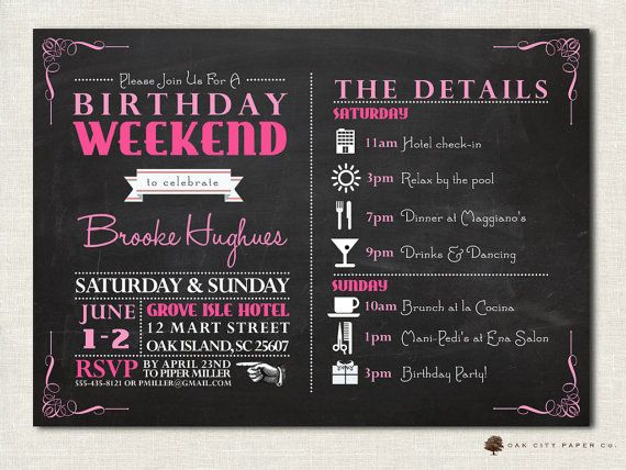 Birthday Party Invitation With Itinerary Birthday Weekend  Th
