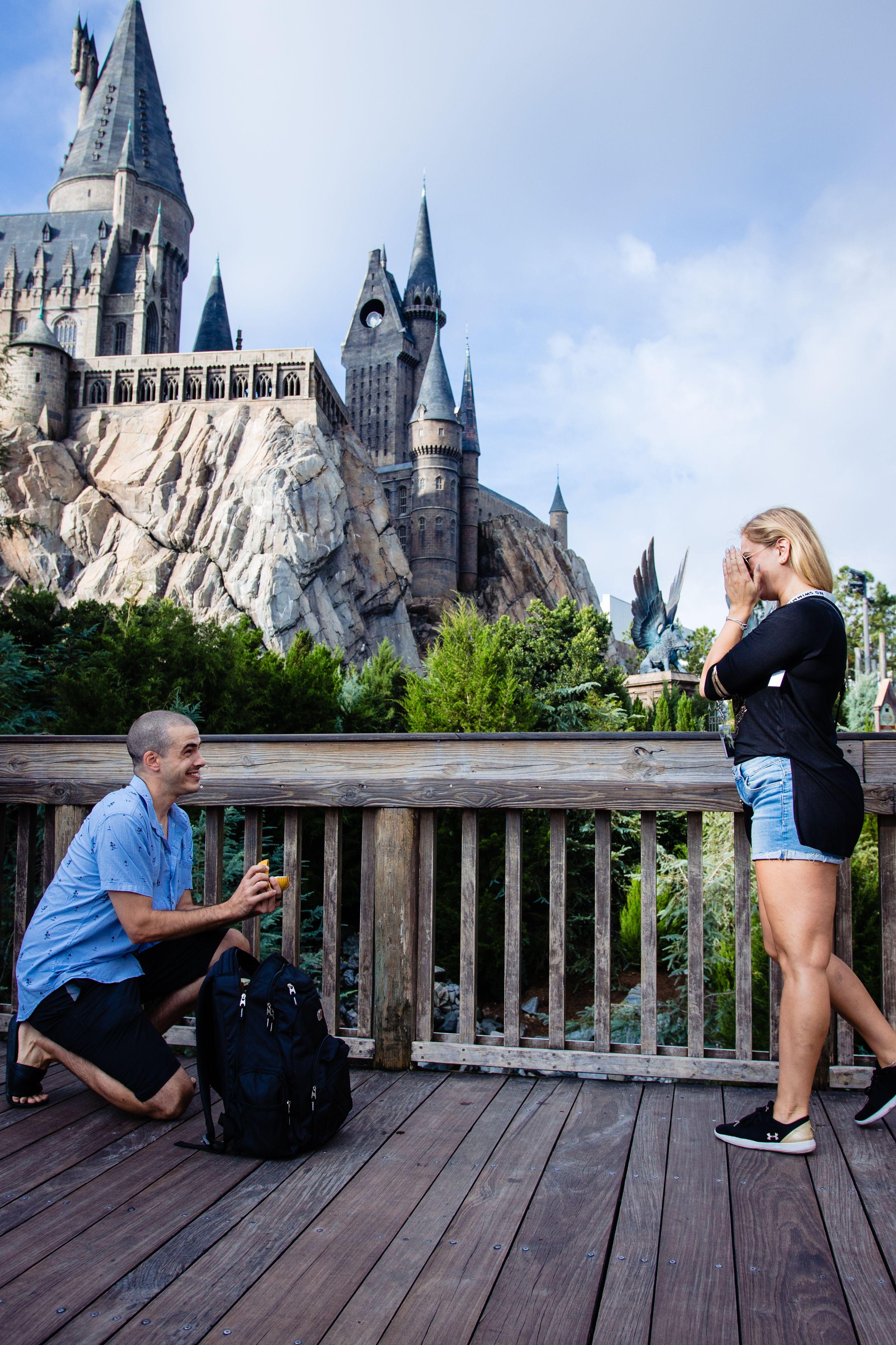 Orlando Surprise Proposals A Harris Photography Harry Potter Proposal Harry Potter Engagement Proposal Photographer