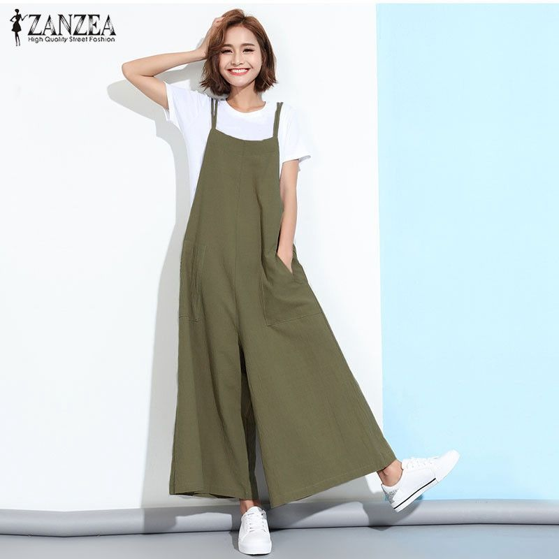 348e806ea9b6 ZANZEA Rompers Womens Jumpsuit 2017 Summer Casual Loose Sleeveless Overalls  Pockets Playsuits Solid Wide Leg Pants Trousers  Affiliate