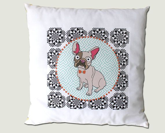French Bulldog Pillow Printed with Geometric by senorpicklesworth, $33.00