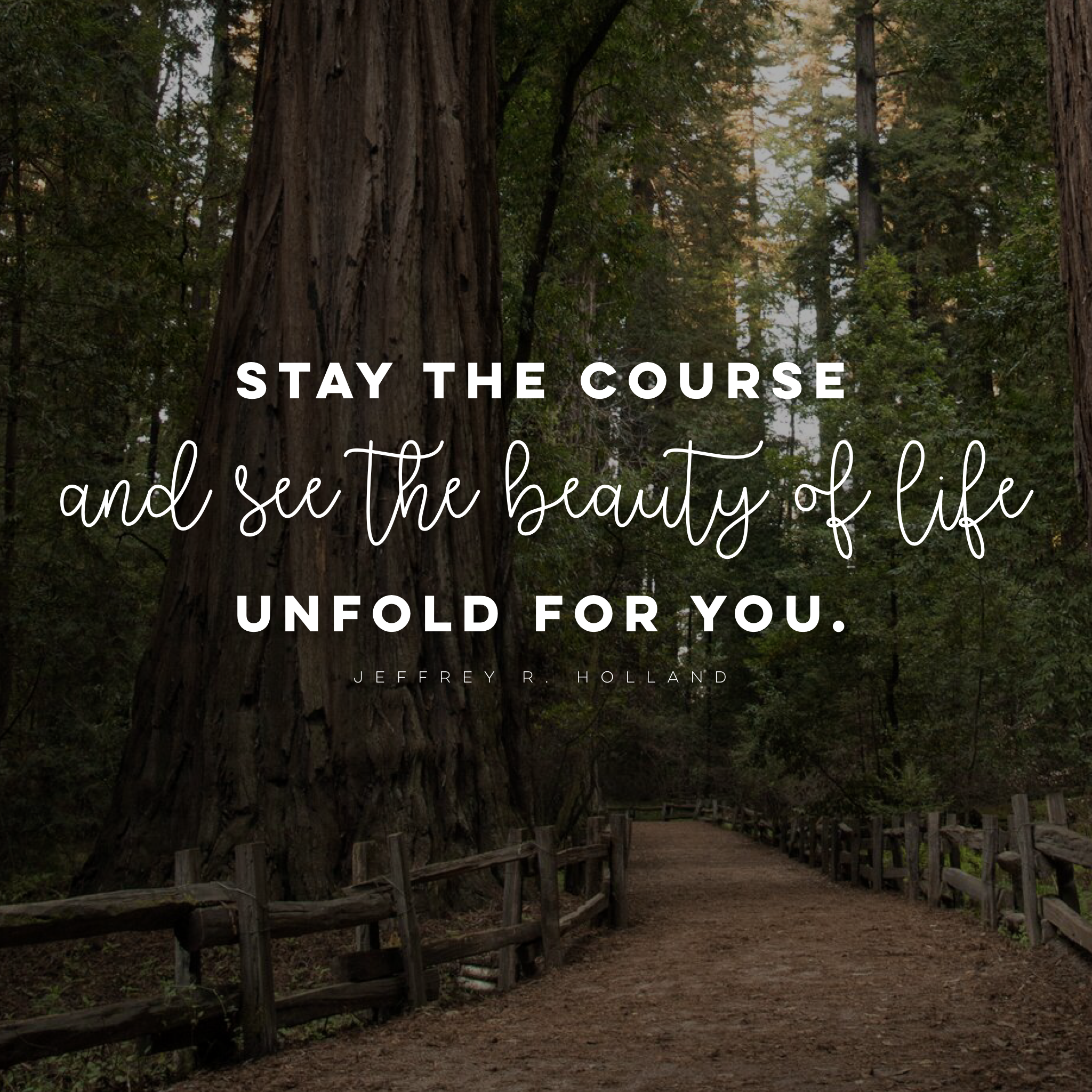 Stay The Course And See The Beauty Of Life Unfold For You Lds