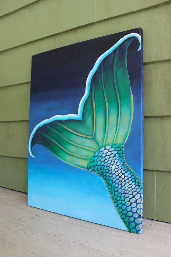 Undersea Mermaid Tail Contemporary Painting Original Canvas Mermaid Painting Art Painting Canvas Painting