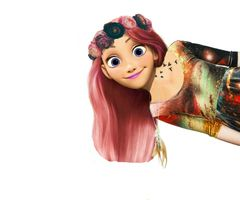 A Pink Haired Rapunzel With A Flower Crown Pink Hair