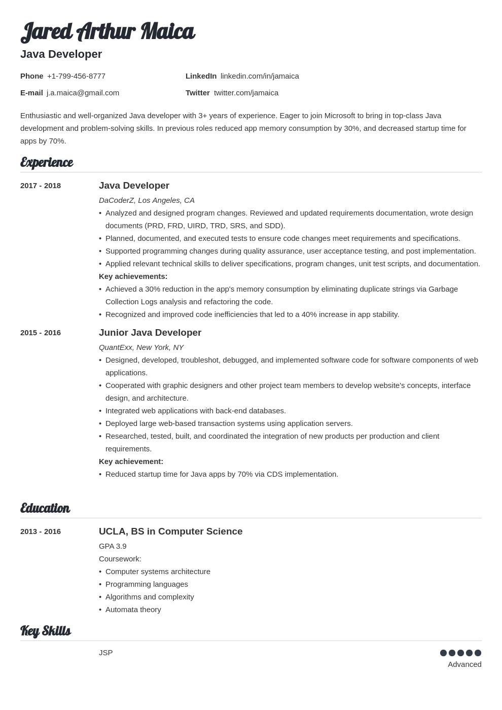 Java Developer Resume Example Template Valera Job Resume Examples Resume Examples Resume