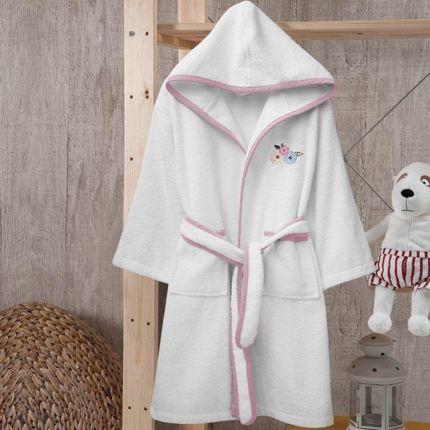 روب استحمام أطفال بحزام باللون الأبيض و زهري Pink Bathrobe Fashion
