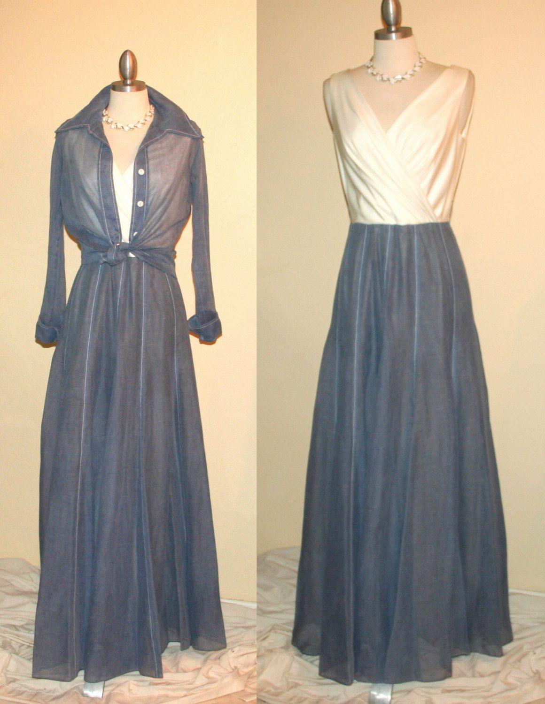 Vintage us denim blue voile maxi dress with white sleeveless wrap