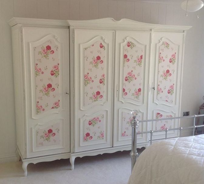 Wardrobe Painted In Autentico Milk With Cath Kidston Wallpaper Panels