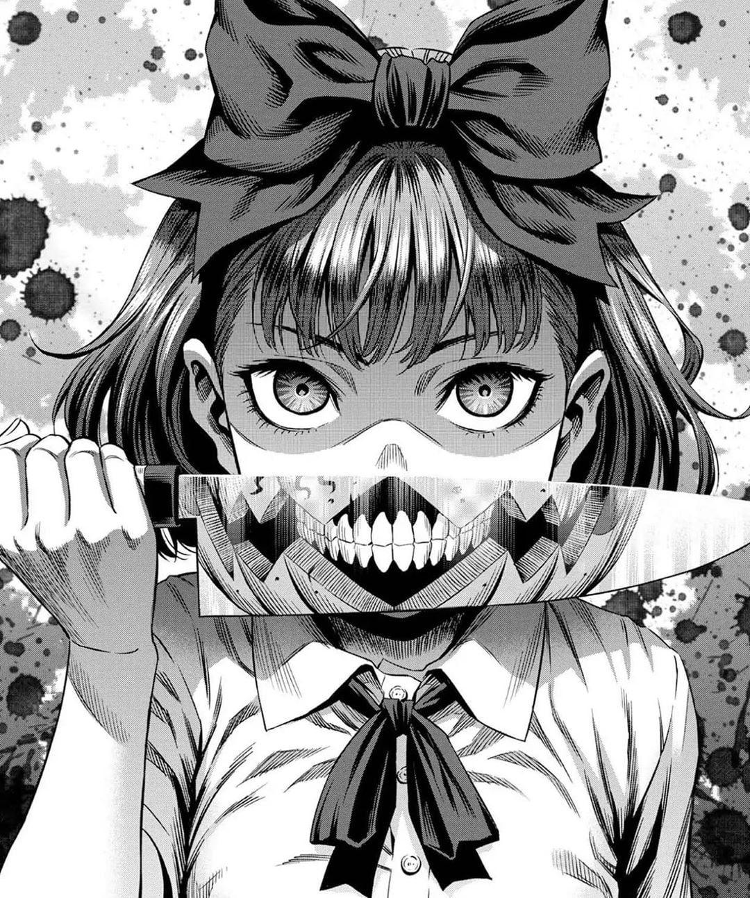 Manga Anime Gore Knife Dark Low Saturation Monochrome Black White Anime Girls Psycho Psychonauts 720p Wal Dark Anime Anime Wall Art Anime Wallpaper