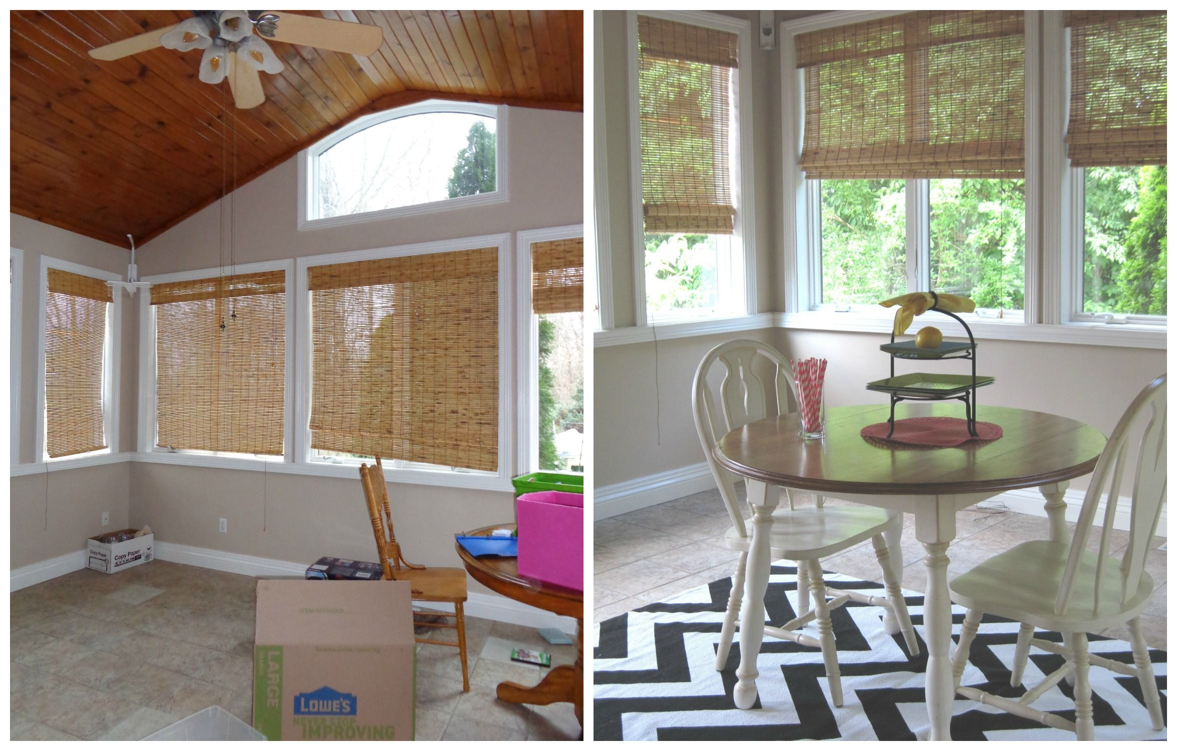 Home staging a sun room before and after in Bristol, Indiana