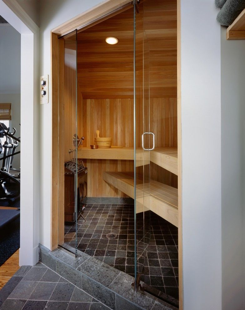 Steam Room vs Sauna with Contemporary Bathroom and Bench Seat ...
