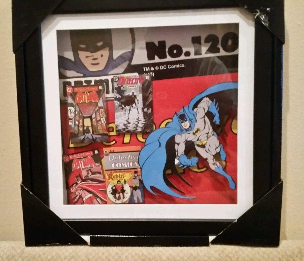 Batman Detective Comics DC 3D Shadow Box Cutout Effect Wood Frame Glass Wall Art