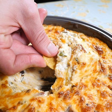 Bacon Cheesy Dip.8 oz cream cheese, softened; 2 C sour cream; 1.5 C cheddar cheese, grated; 1 C bacon (6-8 slices), crumbled; 1/3 C green onions, chopped;  375 30 min.
