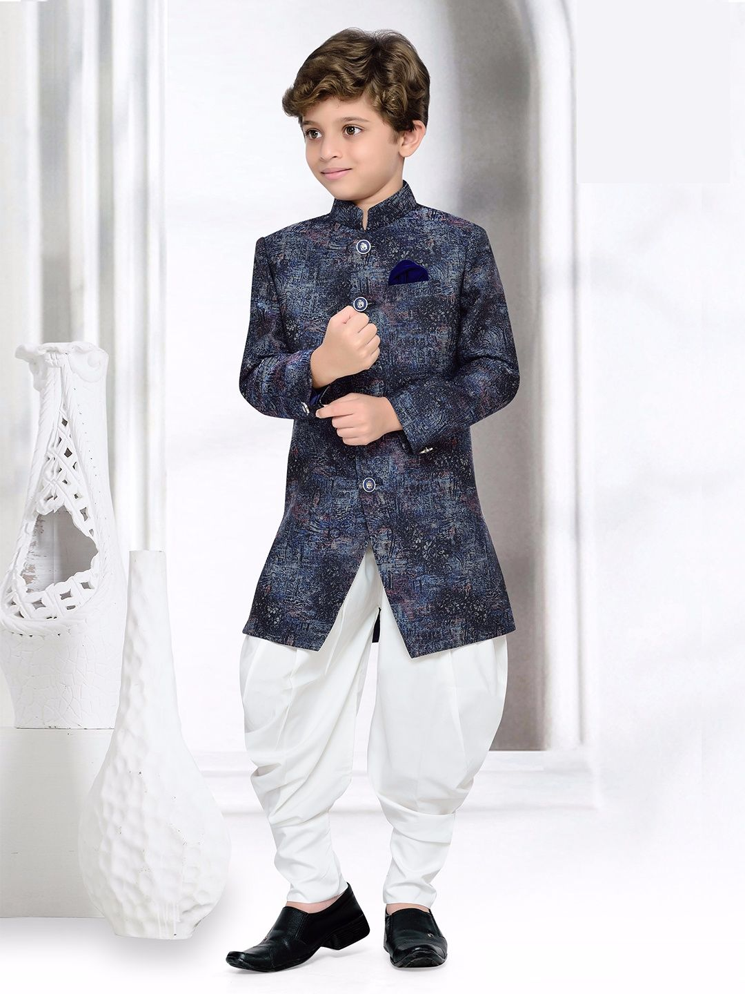 852927a5a30f Navy White Silk Indo Western | Boys Indian Fashion Wear | Kids ...
