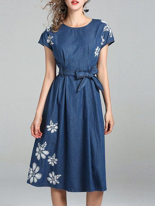 12f8f68193 Flowers Tie-Waist Denim Dress -SheIn(Sheinside)