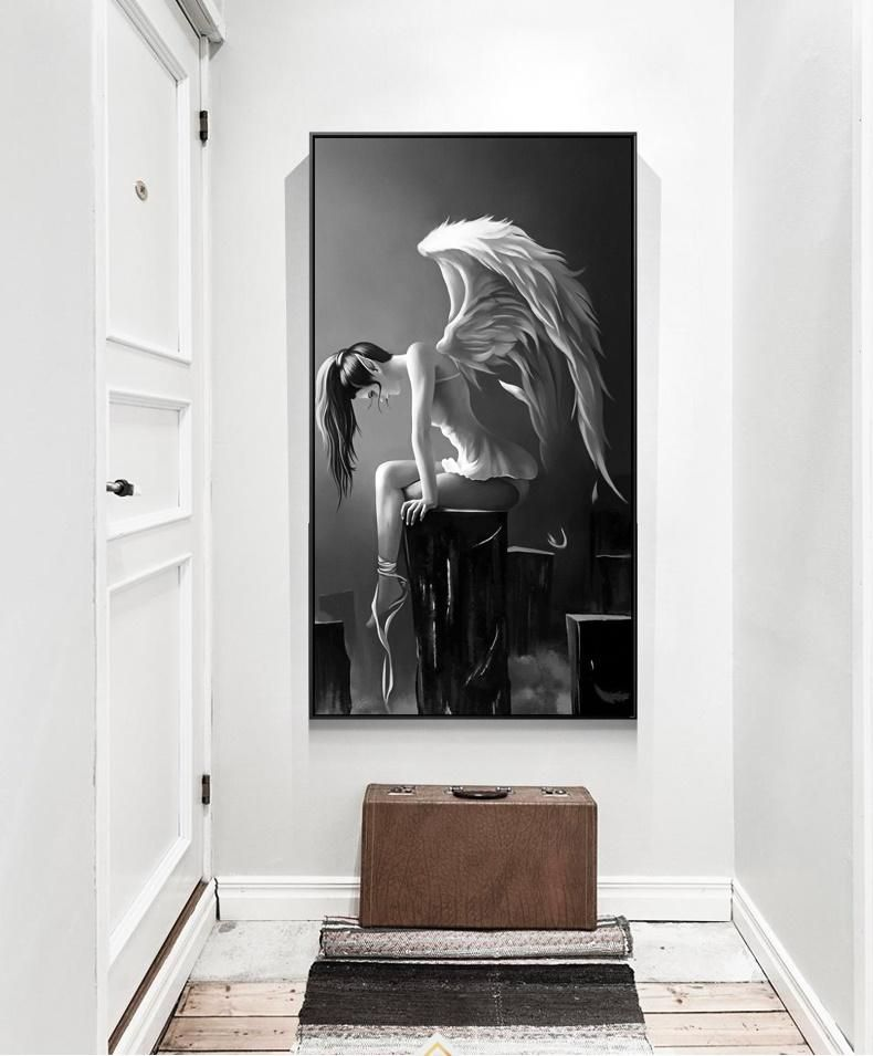 Angel wings girl black and white hd canvas print rouse the