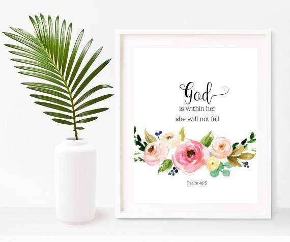 Nursery Bible Verse, God Is Within Her, Baptism Gift, Bible Verse  Printable, Nursery Wall Art, Digital Download, Home Decor, Wall Decor