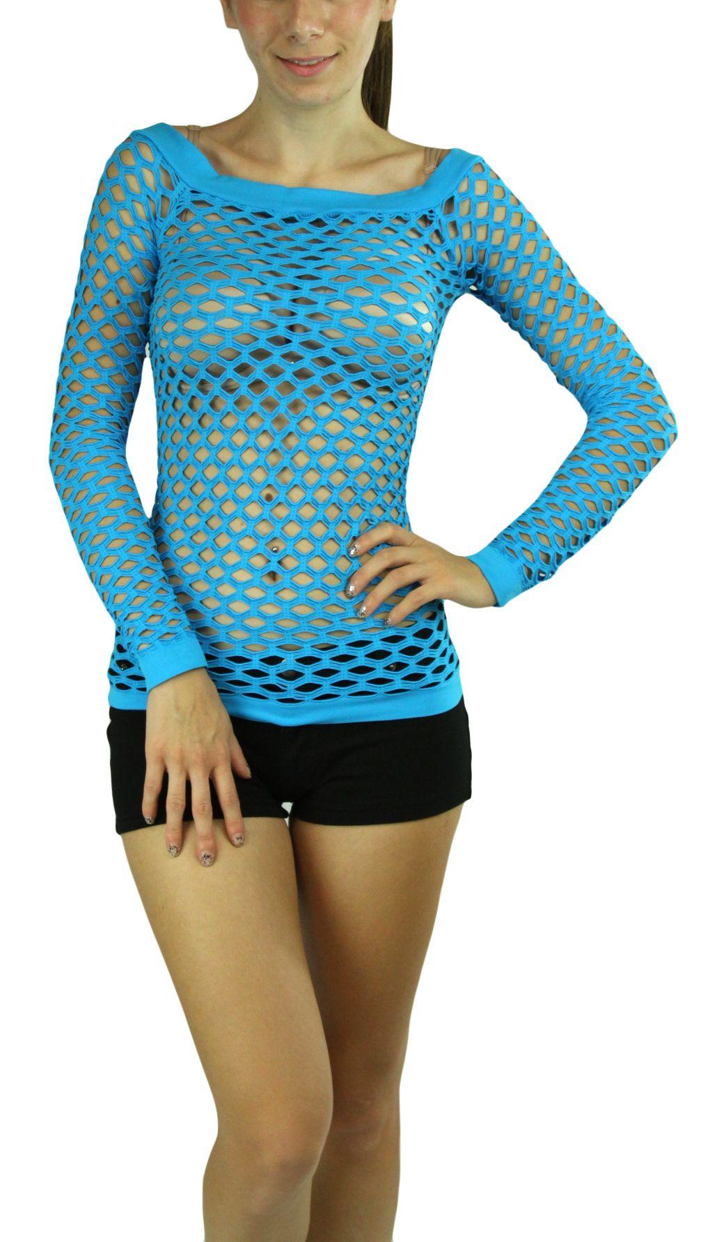 65e9bd3d929 A Sexy Long Sleeve Fishnet Shirt Women Tops Blouse GoGo Dance Wear ...