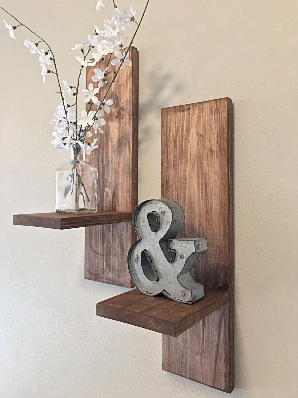 Farmhouse distressed shelves set of 2 wooden sconces