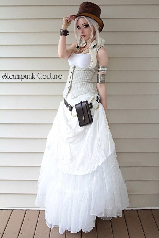 Beige Pinstripe Underbust Vest Would Be An Awesome Outdoor Steampunk Wedding Dress