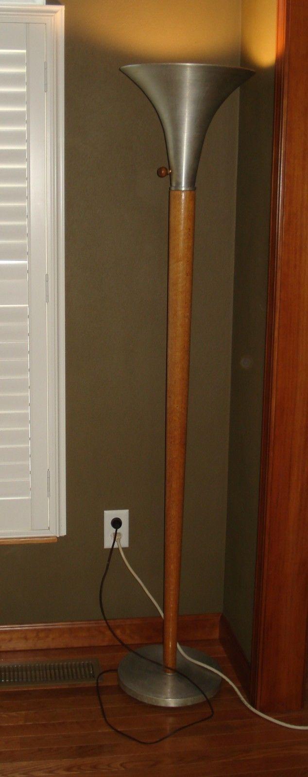 Vintage Russel Wright Style Torchiere Spun Aluminum Oak