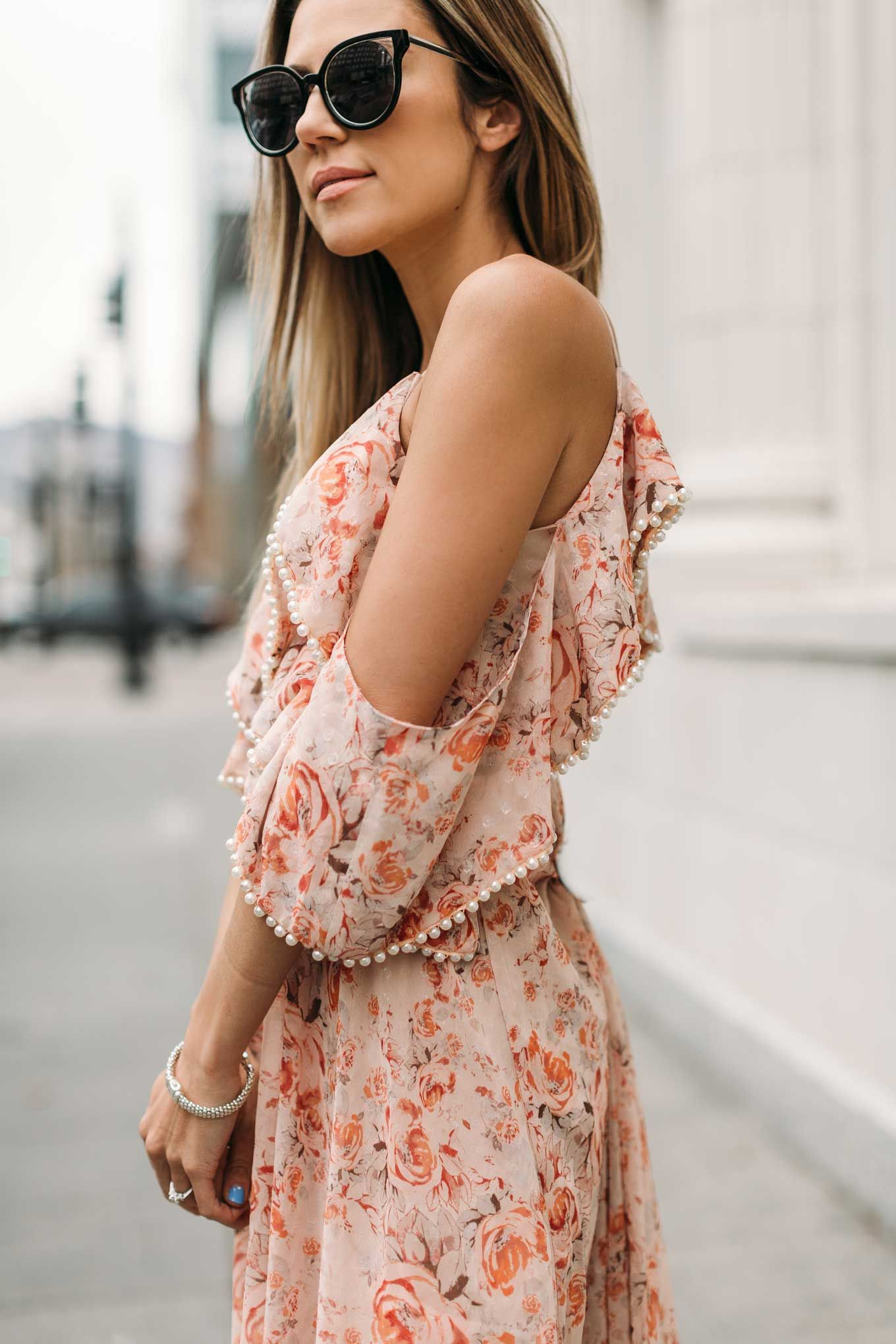 Open shoulder floral dress with pearl detailing. The perfect dress selections for Easter on the blog.