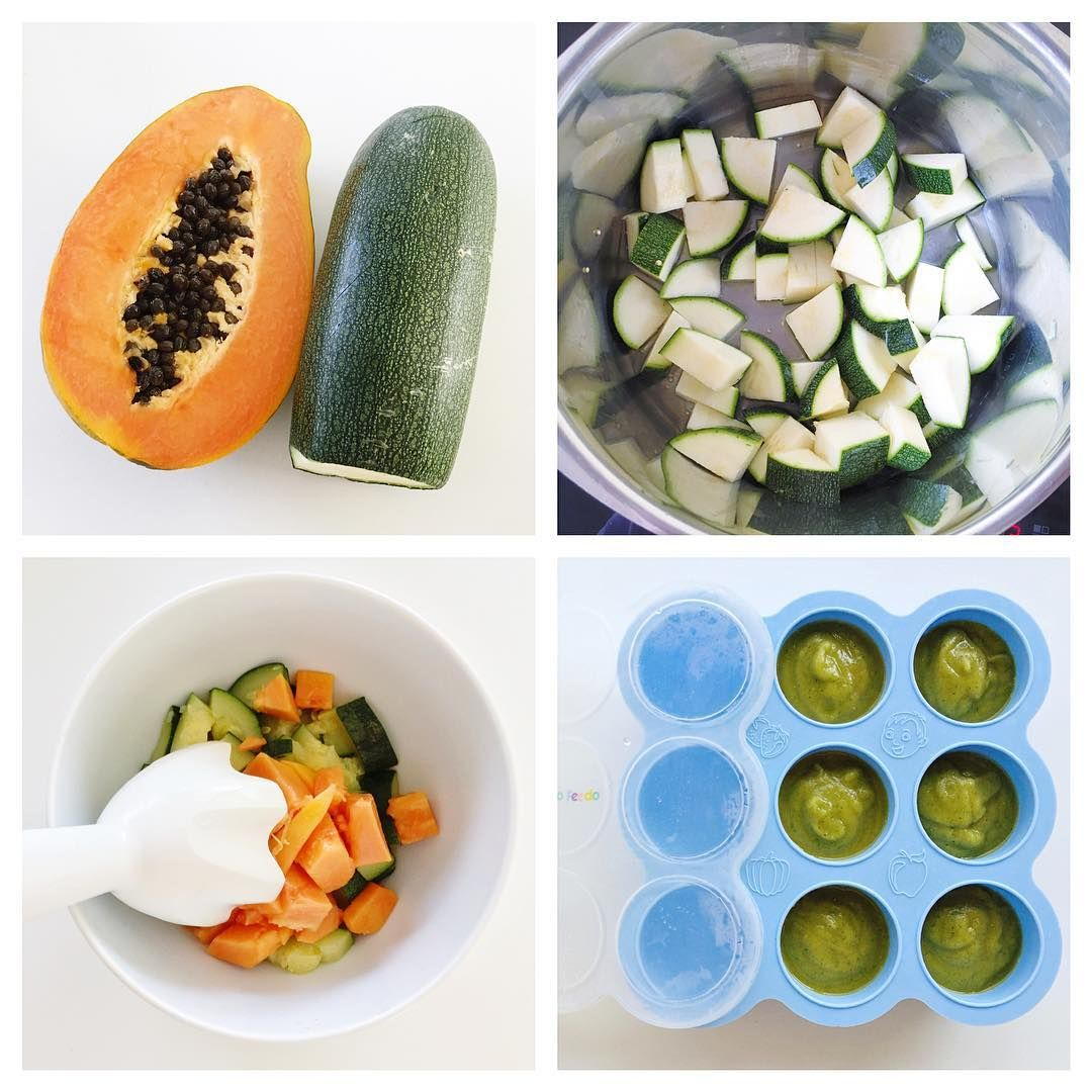 Papaya Baby Food Recipe: Papaya And Zucchini Puree [6m+] - Baby Food Ideas.