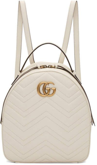 Gucci White GG Marmont Backpack  66dba6a81cc78