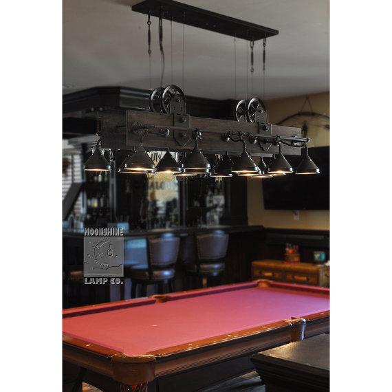 The Yorba Linda Rustic Industrial Style Pool Table Lamp Pool