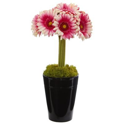 Nearly Natural 17 Inch Artificial Pink Gerber Daisy Arrangement In