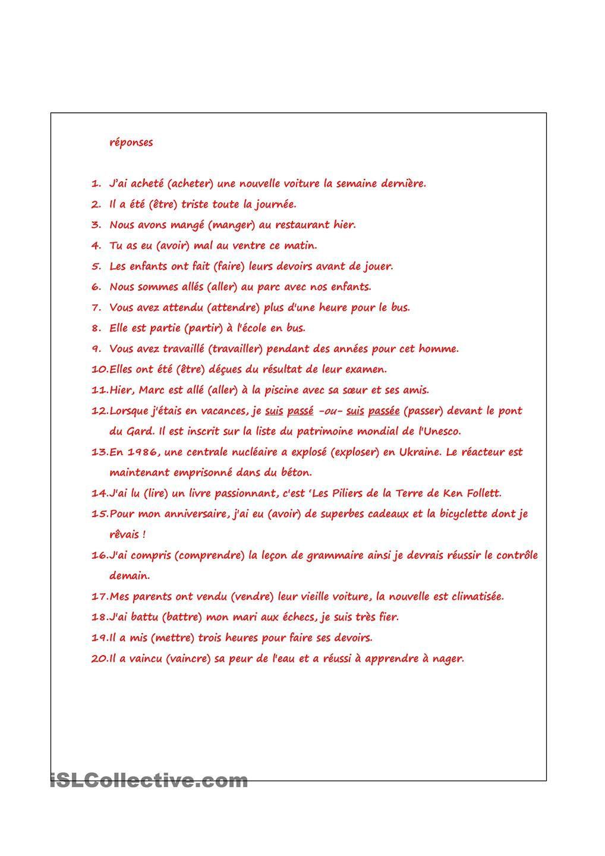 Passe Compose Des Choses En Franais Pinterest French Grammar