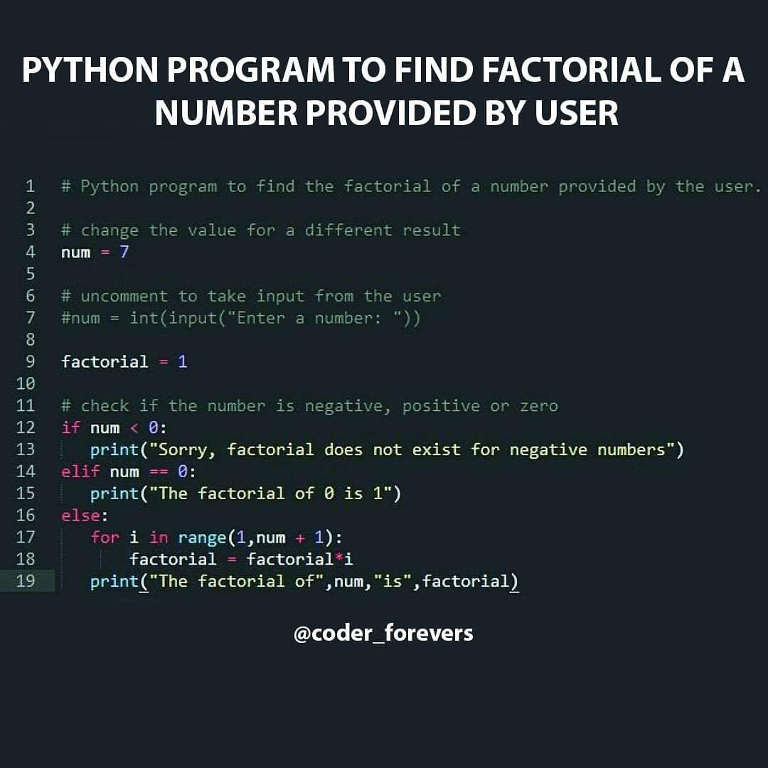 Python Program to Find the Factorial of a Number  🖱 follo