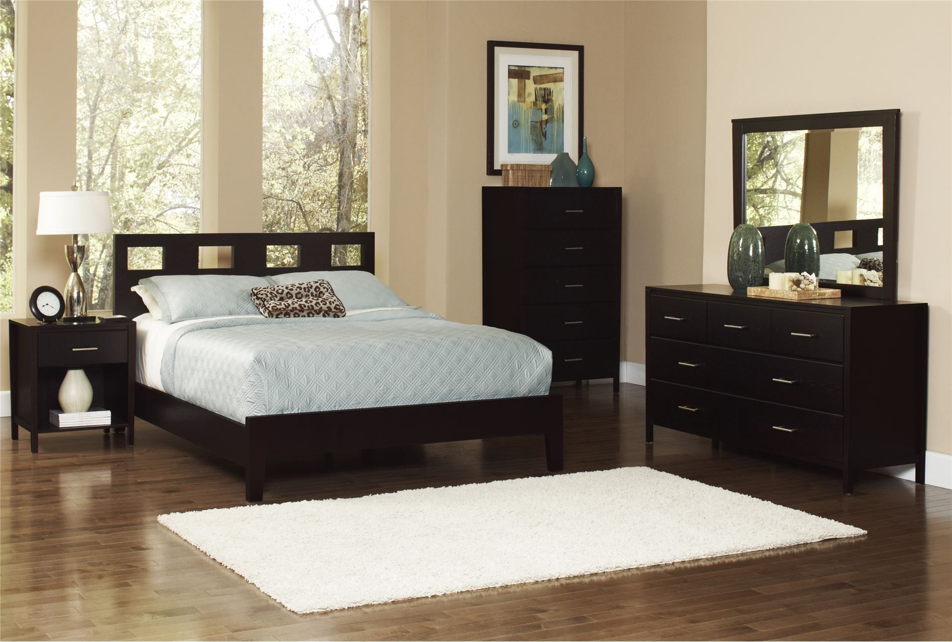 Downtown Queen Dark Brown Wooden Panel Bed | Sleeping Spaces ...