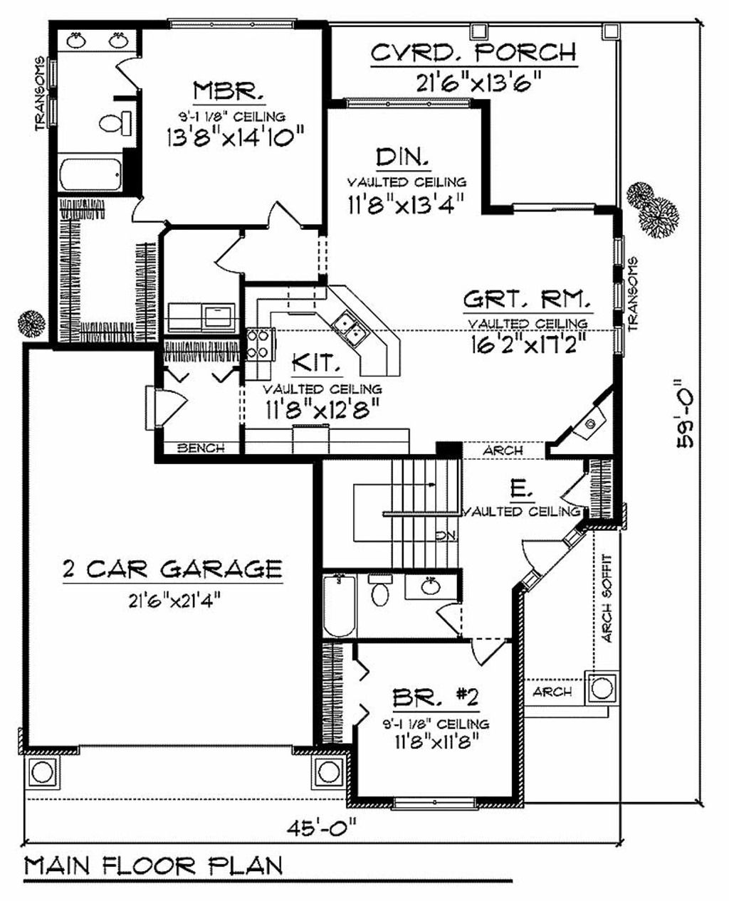 Craftsman Style House Plan - 2 Beds 2.00 Baths 1580 Sq/Ft Plan #70-912 Floor Plan - Main Floor Plan - Houseplans.com