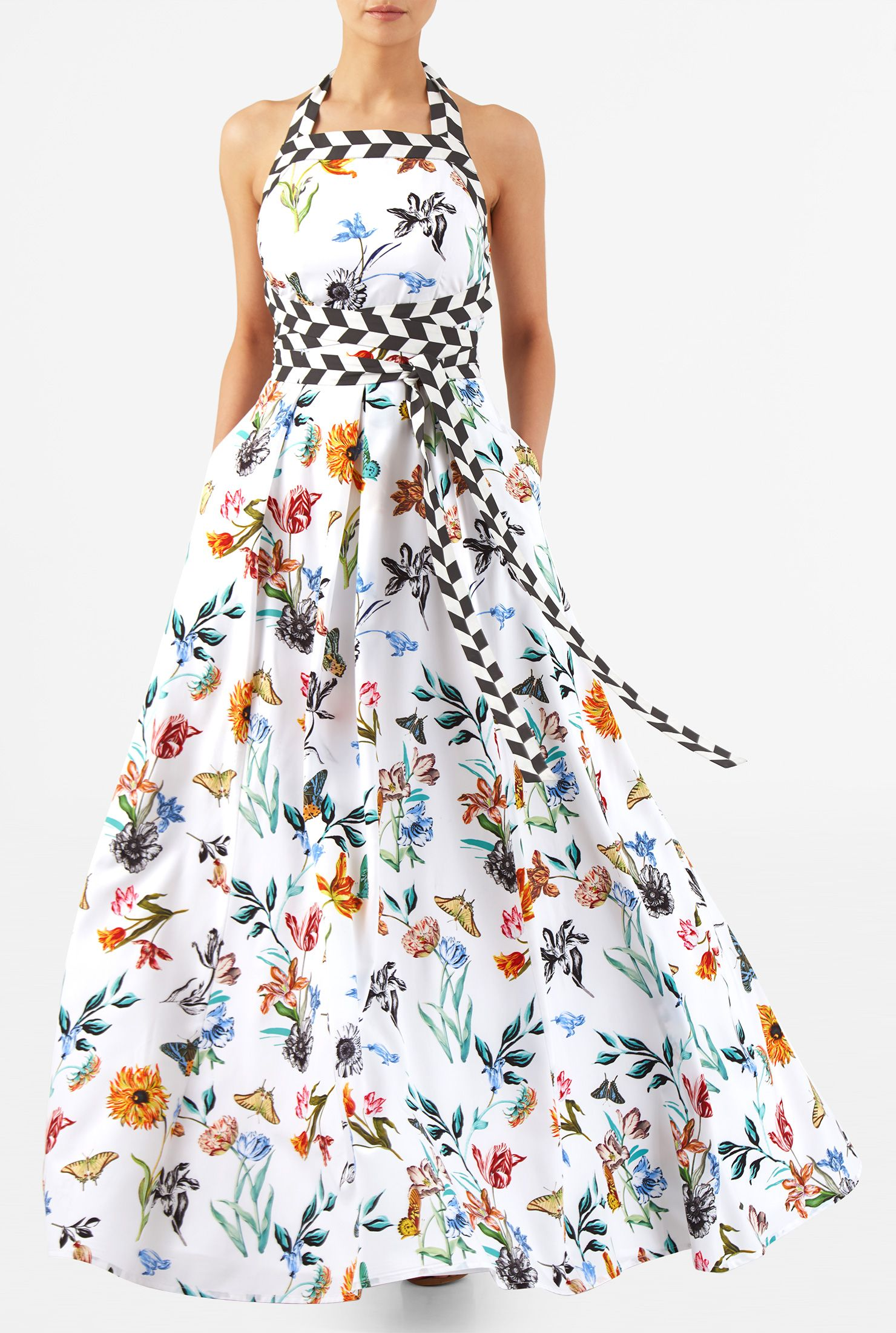 fe317c3855b Our floral butterfly print crepe maxi dress is cut at floor length with  attached long ties in contrast geo print to wrap the empire waist in a  totally ...