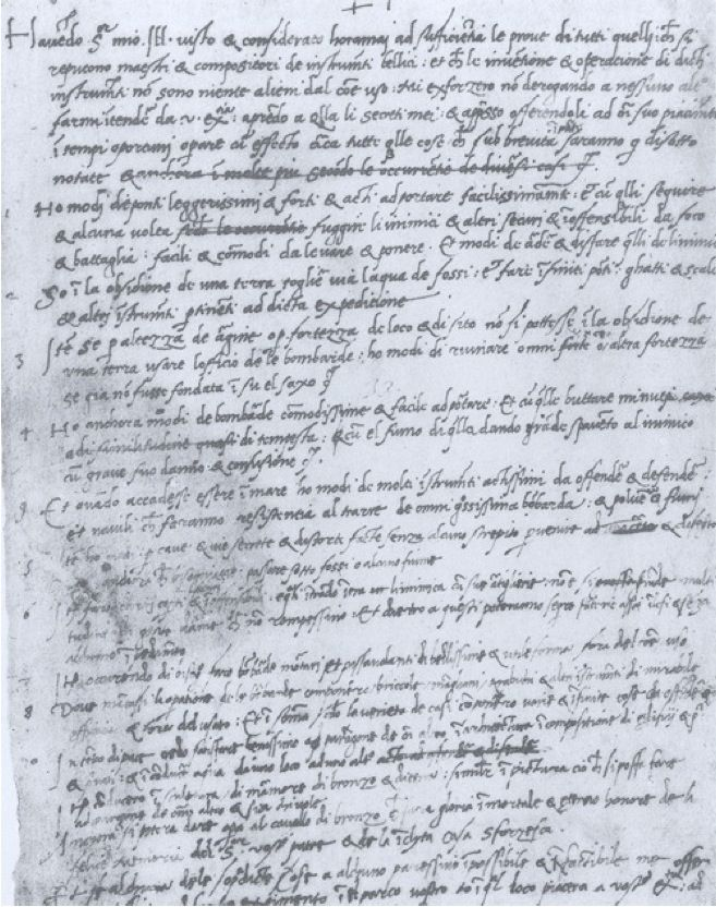 Lettre de Léonard de Vinci à Ludovic Marie Sforza dit le More, Duc