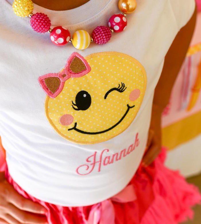 62e627dc0 Custom emoji t-shirt from a Pink & Gold Emoji Birthday Party on Kara's Party  Ideas | KarasPartyIdeas.com (38)