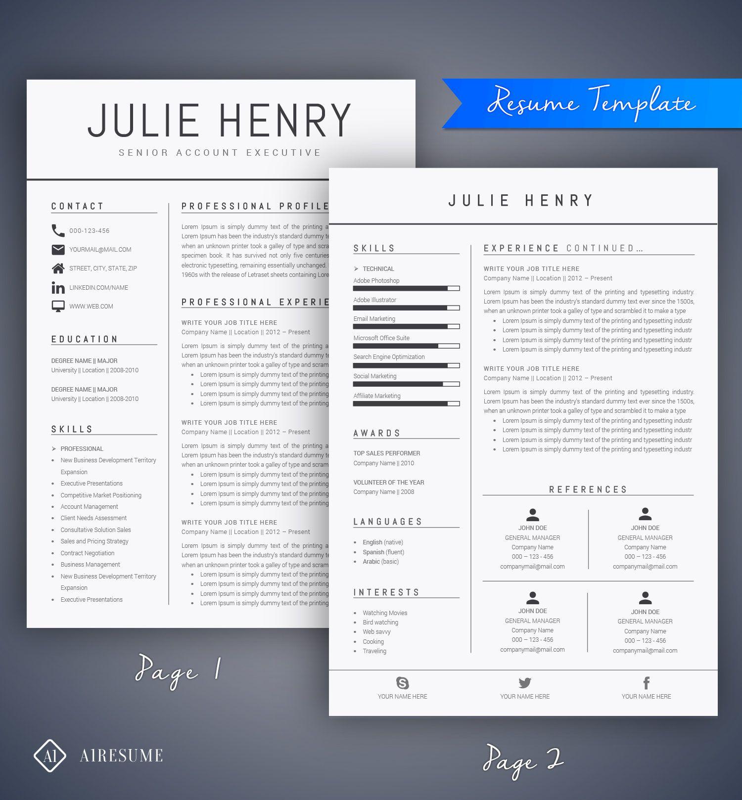 Modern Resume Template Cv Template Cover Letter Social Business