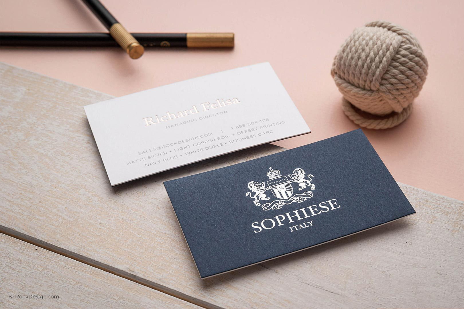 Fancy Custom Navy Blue And White Duplex Business Card With Foil Stamping Sophiese Rockdes Printing Business Cards Blue Business Card Business Card Branding