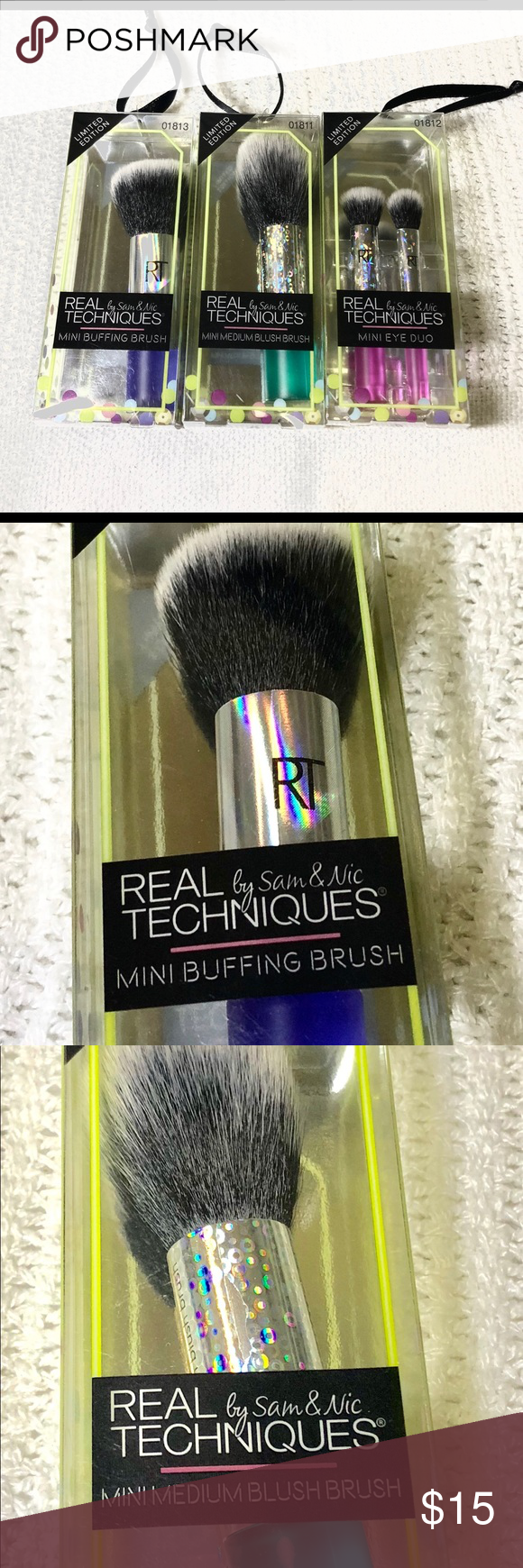 Real Techniques Mini Brushes Set of 3 NWT Real