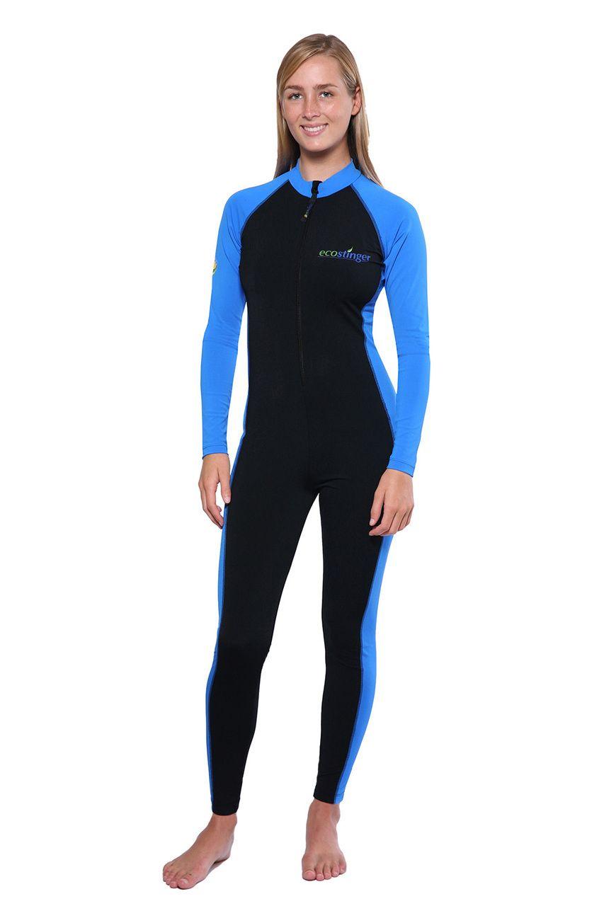 d491b3bc8d7 Women Full Body UV Swimsuit Stinger Suit Dive Skin UPF50+ Black Blue  (Chlorine Resistant) - EcoStinger
